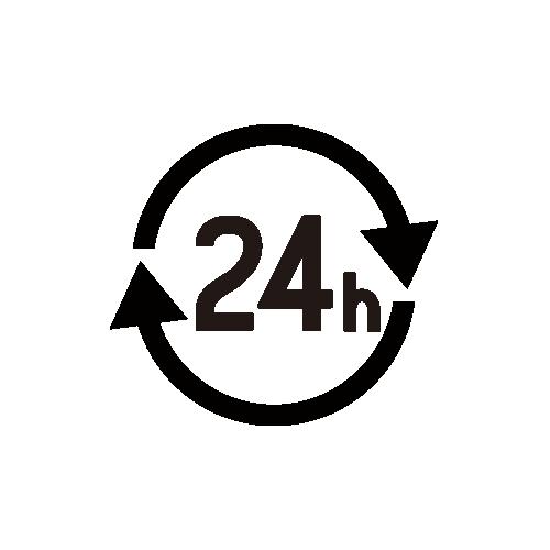 24時間 モノクロアイコン フリー素材