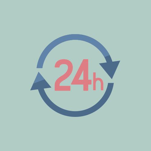 24時間 フラットカラーアイコン フリー素材