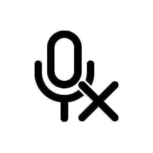 マイクOFF/消音 モノクロアイコン フリー素材