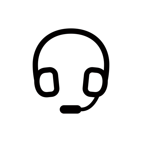 マイク付きヘッドフォン モノクロアイコン フリー素材