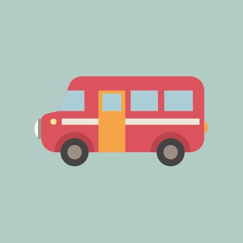バスのかわいいイラスト フリー素材