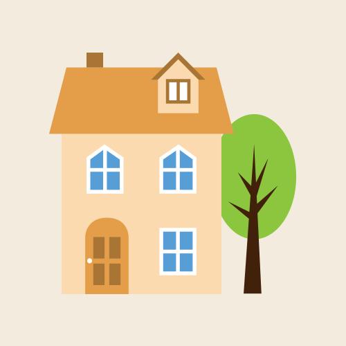 オシャレな北欧風の家 シンプルイラスト フリー素材
