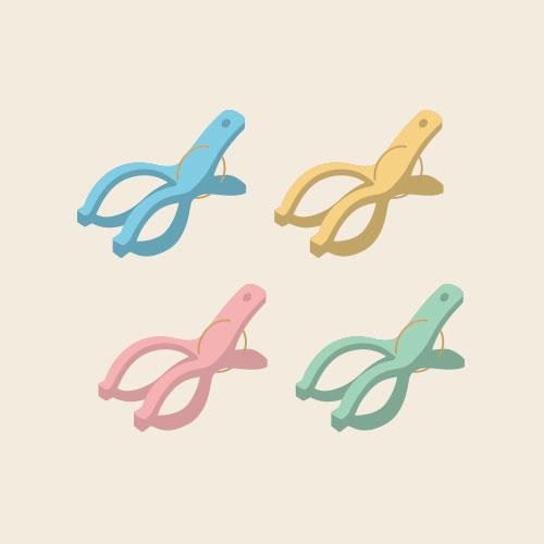 洗濯バサミ(ポールピンチ/セット) シンプルイラスト フリー素材