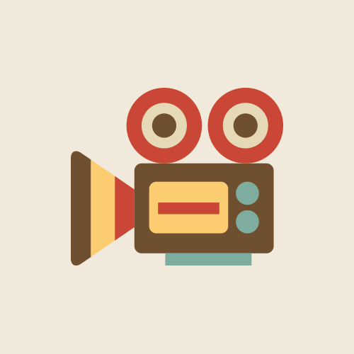 ビデオカメラ・動画 レトロでおしゃれなアイコン  フリー素材