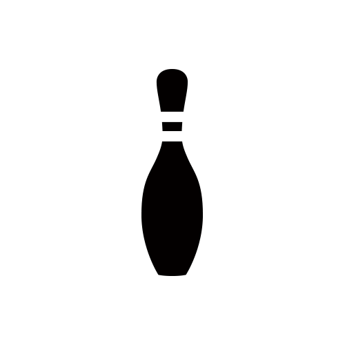 ボーリングピン モノクロアイコン フリー素材