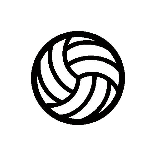 バレーボール モノクロアイコン フリー素材