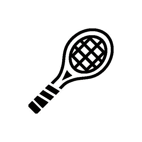 テニスラケット モノクロアイコン フリー素材