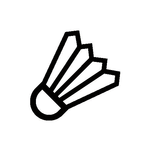 バドミントン モノクロアイコン フリー素材