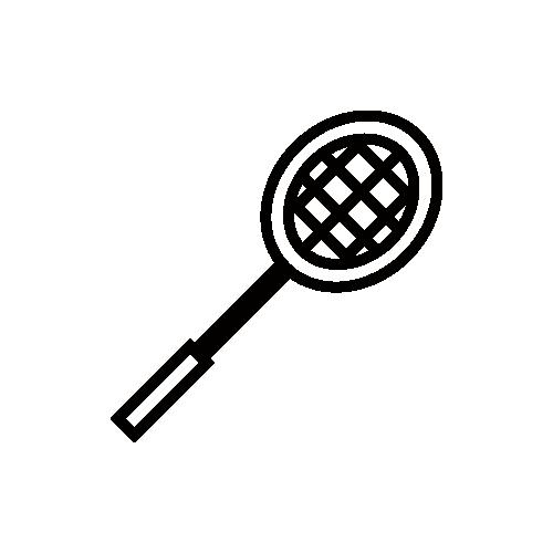 バドミントン ラケット モノクロアイコン フリー素材