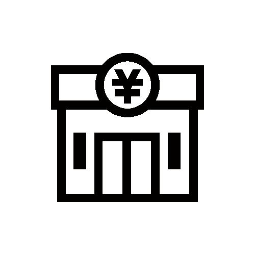 銀行・ATM モノクロアイコン フリー素材