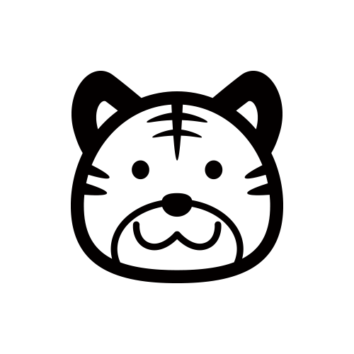 虎 モノクロアイコン素材