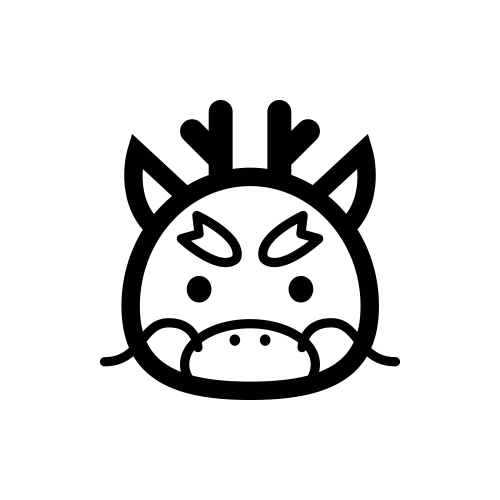 龍 モノクロアイコン素材