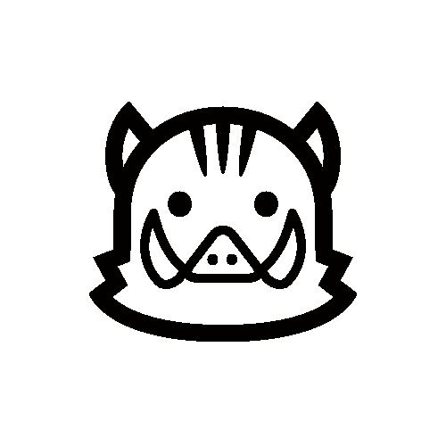 イノシシ モノクロアイコン素材