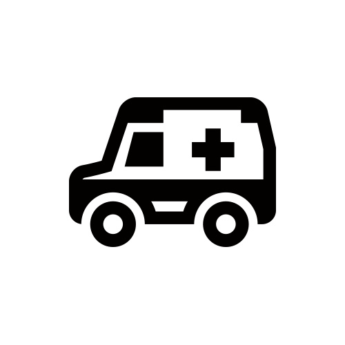 救急車 モノクロアイコン素材
