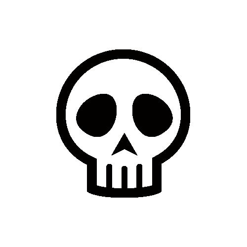 頭蓋骨・ドクロ・骨折 モノクロアイコン素材