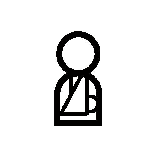 骨折・包帯・ギプス モノクロアイコン素材