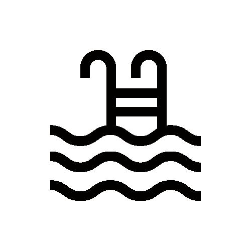 プール・水泳 モノクロアイコン素材