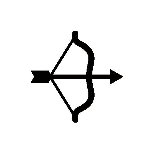 射的・弓矢 モノクロアイコン素材