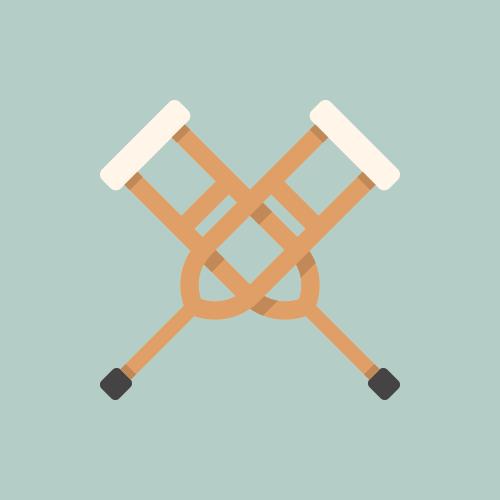 松葉杖 フラットデザイン カラーイラスト アイコン フリー素材