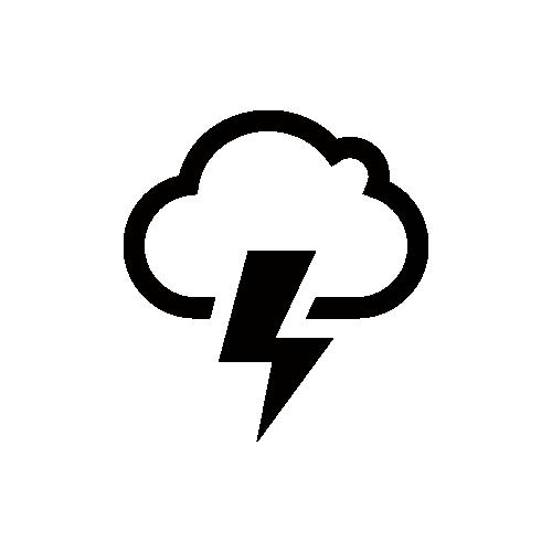 天気 雷 雷雲 モノクロアイコン素材