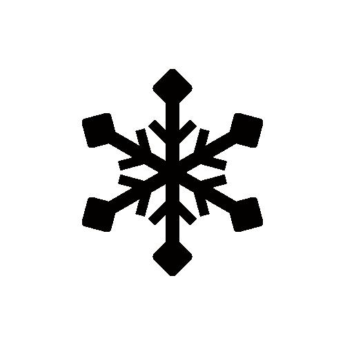 天気 雪マーク モノクロアイコン素材