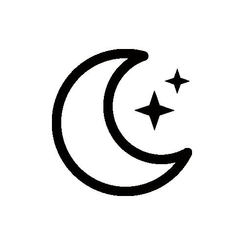 天気 夜/晴れ/月 モノクロアイコン素材