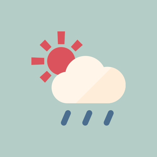 天気 晴れ時々雨/雨時々晴れ カラーアイコン フリー素材