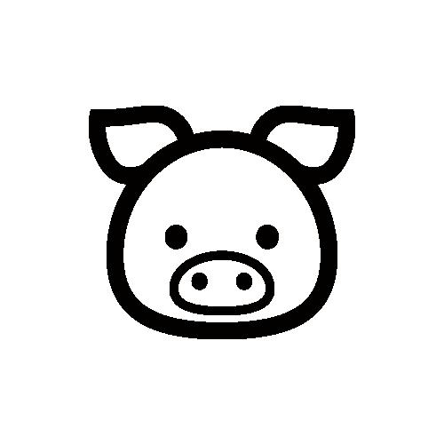 豚 モノクロアイコン素材
