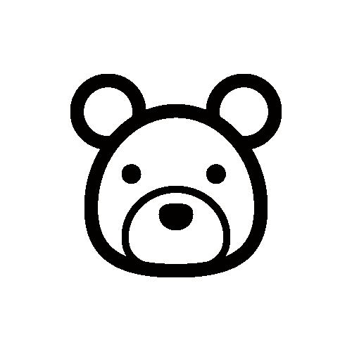 熊 モノクロアイコン素材