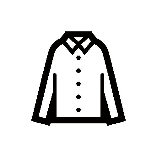 長袖シャツ モノクロアイコン素材