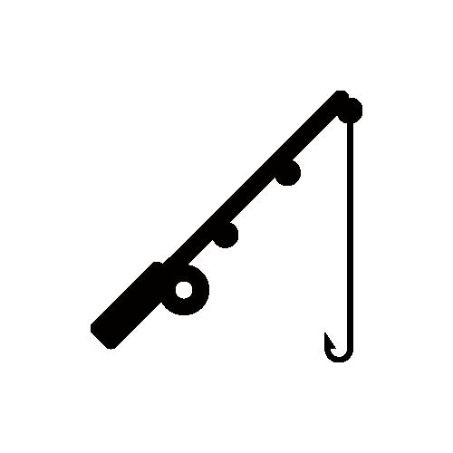 釣り・釣竿 モノクロアイコン素材