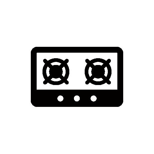 ガスコンロ モノクロアイコン素材