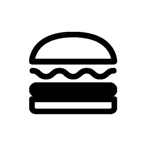 ハンバーガー モノクロアイコン素材