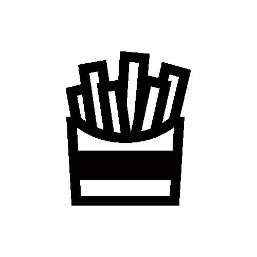フライドポテト モノクロアイコン素材