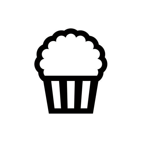 ポップコーン モノクロアイコン素材