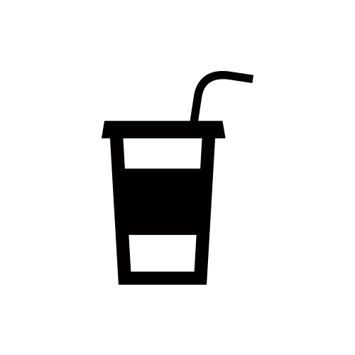 ドリンク モノクロアイコン素材