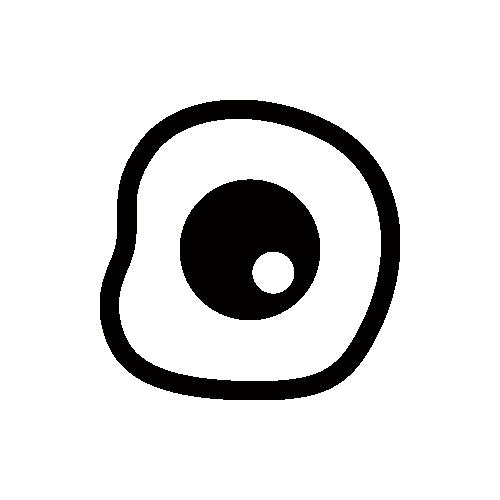 目玉焼き モノクロアイコン素材