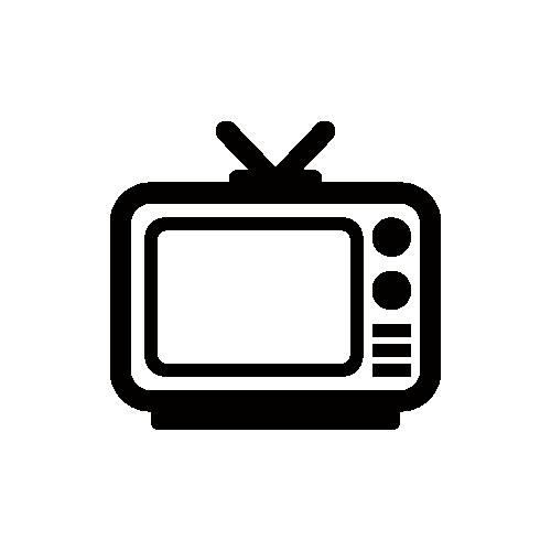 テレビ モノクロアイコン素材