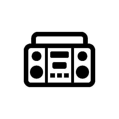 ラジカセ モノクロアイコン素材