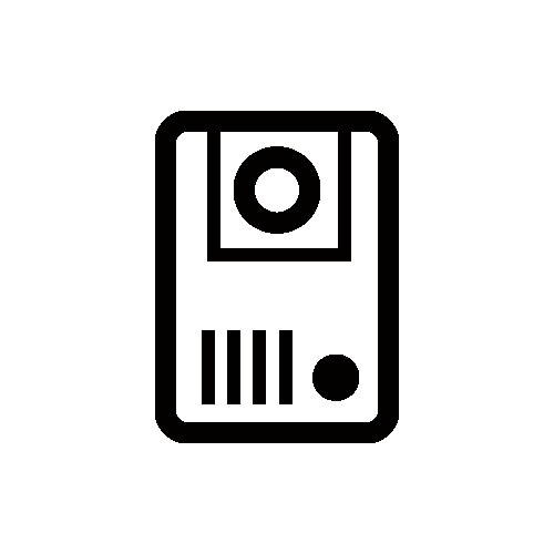 カメラ付きインターホン モノクロアイコン素材