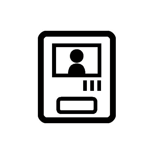 モニター付きインターホン モノクロアイコン素材