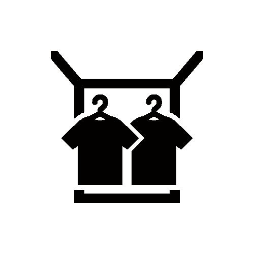 ウォークインクローゼット モノクロアイコン素材