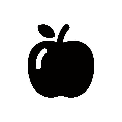 りんご モノクロアイコン素材