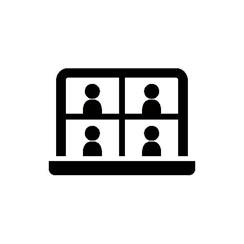 テレワーク モノクロアイコン素材