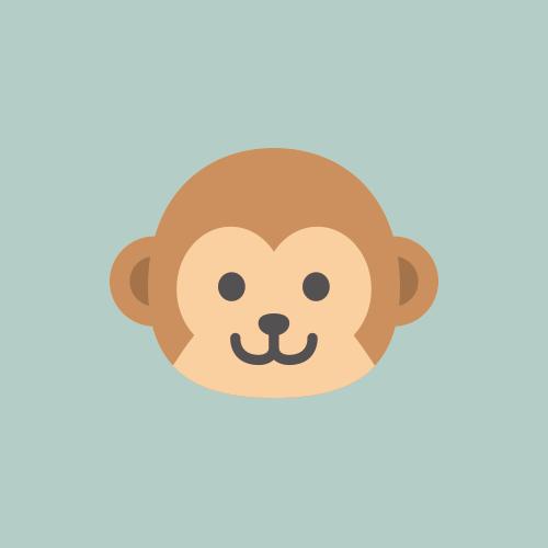 猿 カラーアイコン フリー素材
