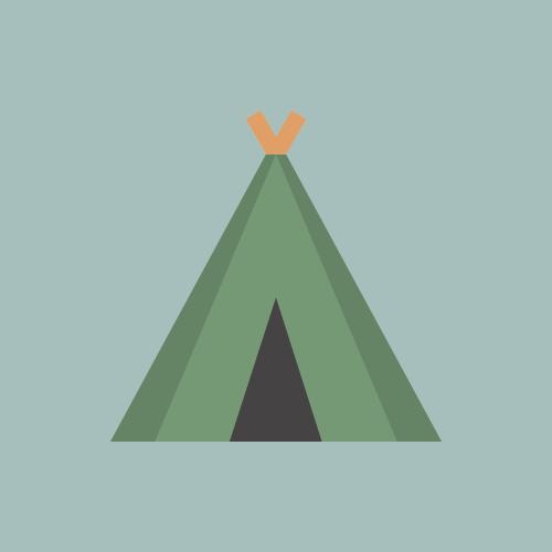 テント・キャンプ場 カラーアイコン フリー素材