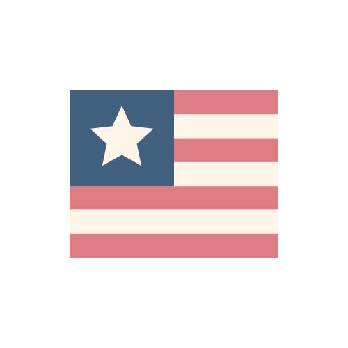 リベリア 国旗 カラーアイコン フリー素材