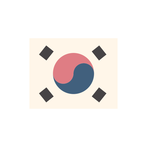韓国 国旗 カラーアイコン フリー素材