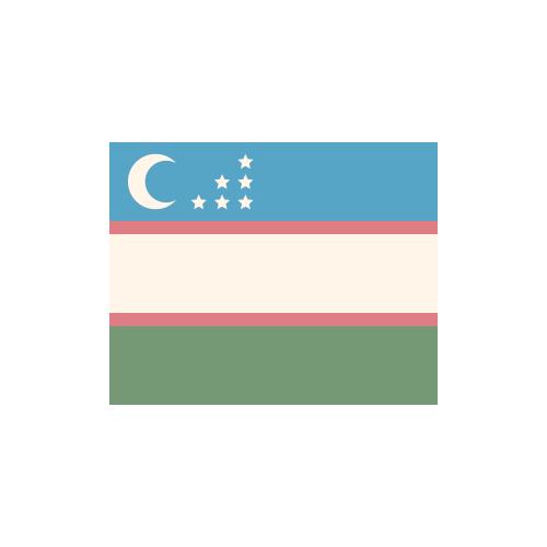 ウズベキスタン 国旗 カラーアイコン フリー素材