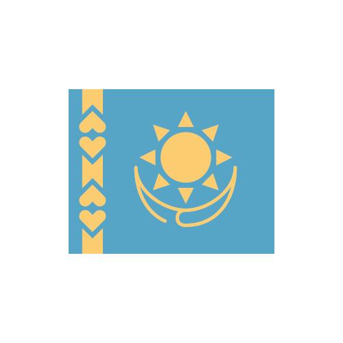 カザフスタン 国旗 カラーアイコン フリー素材